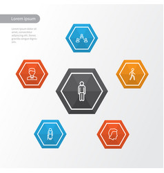 people outline icons set collection of woman vector image vector image