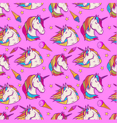 Seamless pattern with unicorn heads and ice cream vector