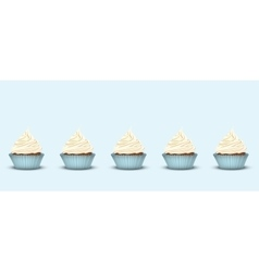 Set of 5 cupcakes with delicious cream vector