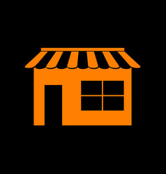 Store sign orange icon on black vector