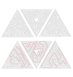 three complicated triangle labyrinths with red vector image vector image