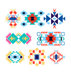 Tribal geometric logo set american indian-ornate vector