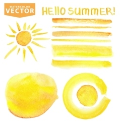 Watercolor stainsbrushessunletteringYellow vector image