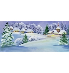 Watercolor winter landscape with snowy houses vector