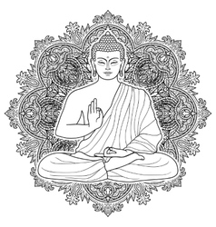 Sitting Bubbha in Lotus position vector image