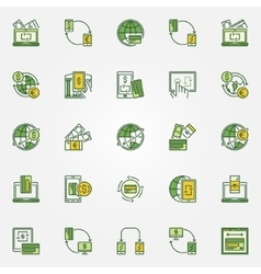 Transfer money colorful icons vector