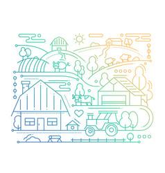 Farm - line design composition - color gradient vector