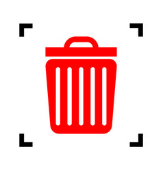 Trash sign   red icon inside vector