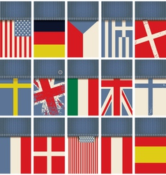 jeans fabric with flags vector image