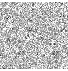 line ornamental flowers pattern vector image