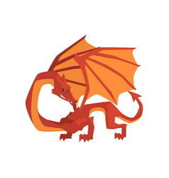 orange and red dragon mythical and fantastic vector image