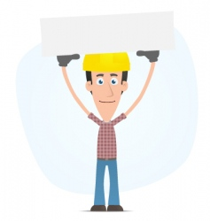 Builder holds over a banner vector