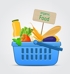 Shopping basket with fresh food vector