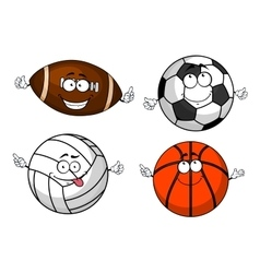 Cartoon isolated sport balls characters vector