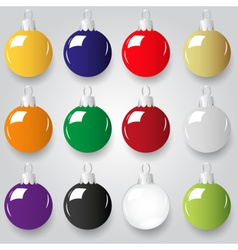 Shiny christmas decoration color small baubles vector