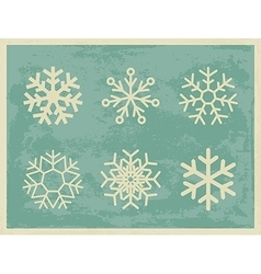 Snowflakes vintage collection on grunge retro vector
