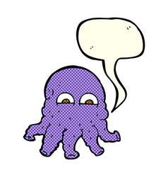 Cartoon alien squid face with speech bubble vector