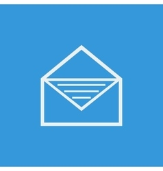 White open envelope icon on blue background vector