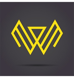 W letter sign vector