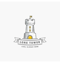 Lone tower abstract sign icon label or vector
