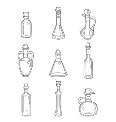 9 isolated doodle bottles sketchy hand drawn set vector