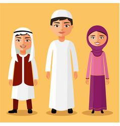 arab children standing cartoon vector image