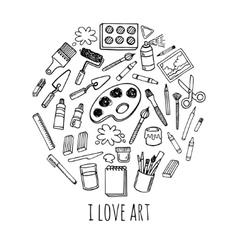 Artist tools sketch set in circle desing vector