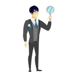 Asian groom holding hand mirror vector