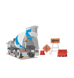Cement truck scene on a white vector