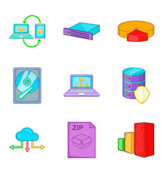 Clouding icon set cartoon style vector