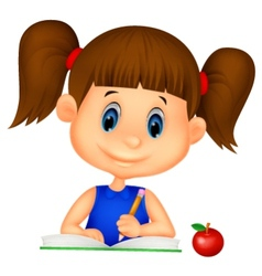 Cute girl cartoon writing on a book vector image vector image