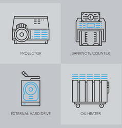 detailed thin line icons for business vector image vector image