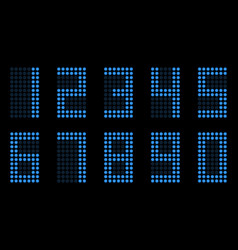 Digital table neon font with grid led nubmers vector
