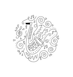 doodle trumpet coloring page vector image vector image