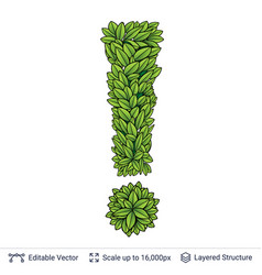 Exclamation sign of green leaves vector