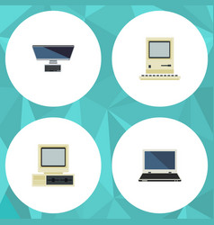 Flat icon laptop set of computer computing vector