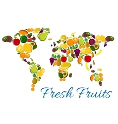 Fresh fruits icons in world map shape vector