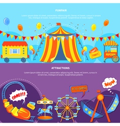 Funfair and attractions 2 flat banners vector