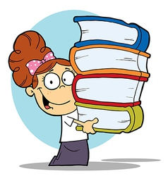 Girl Carrying A Stack Of Books vector image