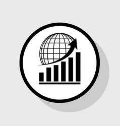 Growing graph with earth flat black icon vector