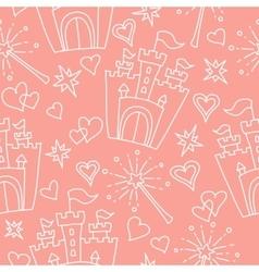 Hand drawn seamless princess pattern vector
