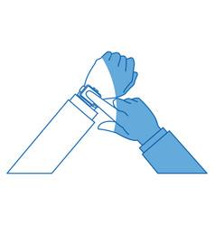 Hands man business touch smart technology vector
