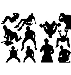 Home fitness silhouettes vector