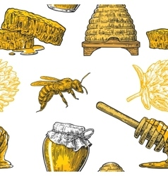Honey seamless pattern jars bee and honeycomb vector