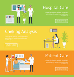 hospital care after patient and checking analysis vector image vector image