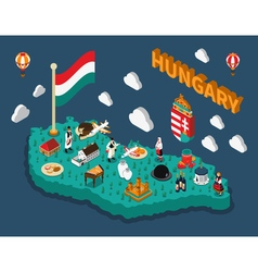 Hungary isometric touristic map vector