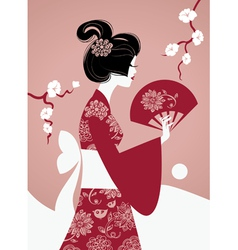 Japanese girl silhouette vector