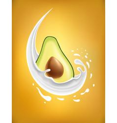 Milk splash with avocado vector
