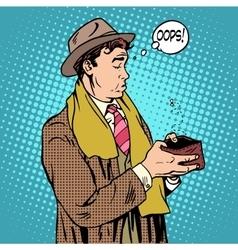 No money man looks in empty wallet vector image