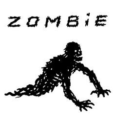 One-armed black zombie silhouette in leaky vector